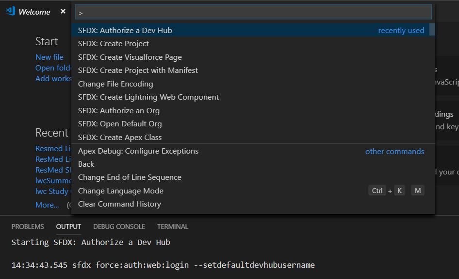 Authorize a Dev Hub SFDX + VSCode