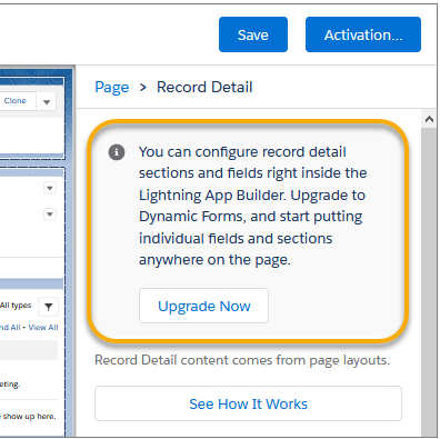 Dynamic forms and Quick Action, Upgrade existing pages.