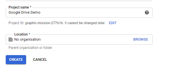 Create project in google developer console for Upload File to Google Drive Using Lightning Component