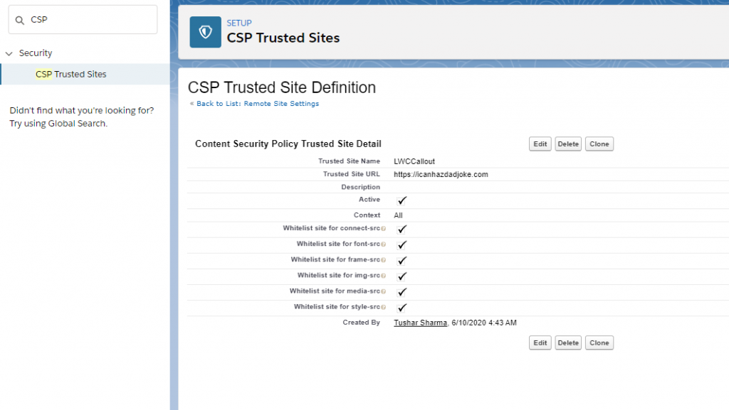 Callout from Lightning web components, Add CSP trusted site