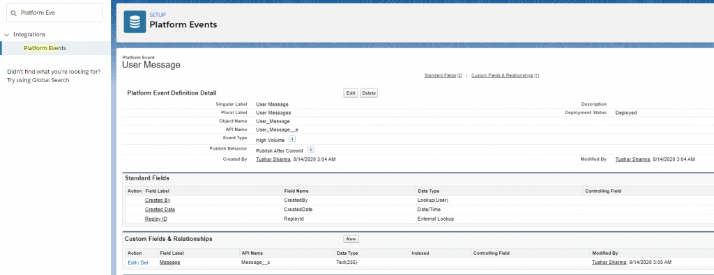 Platform Event in Lightning Web Components Create Platform Event from Setup