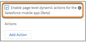 page-level dynamic actions for the Salesforce mobile app (Beta).