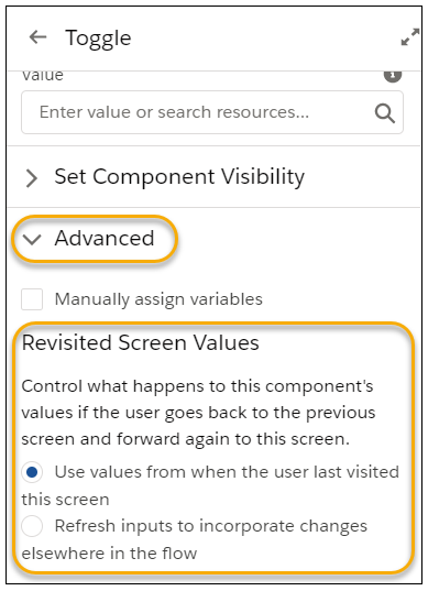 Control Revisited Screen Component Values in Flows