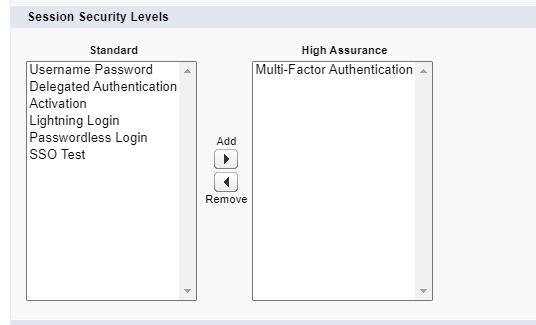 session security level for multi-factor authentication
